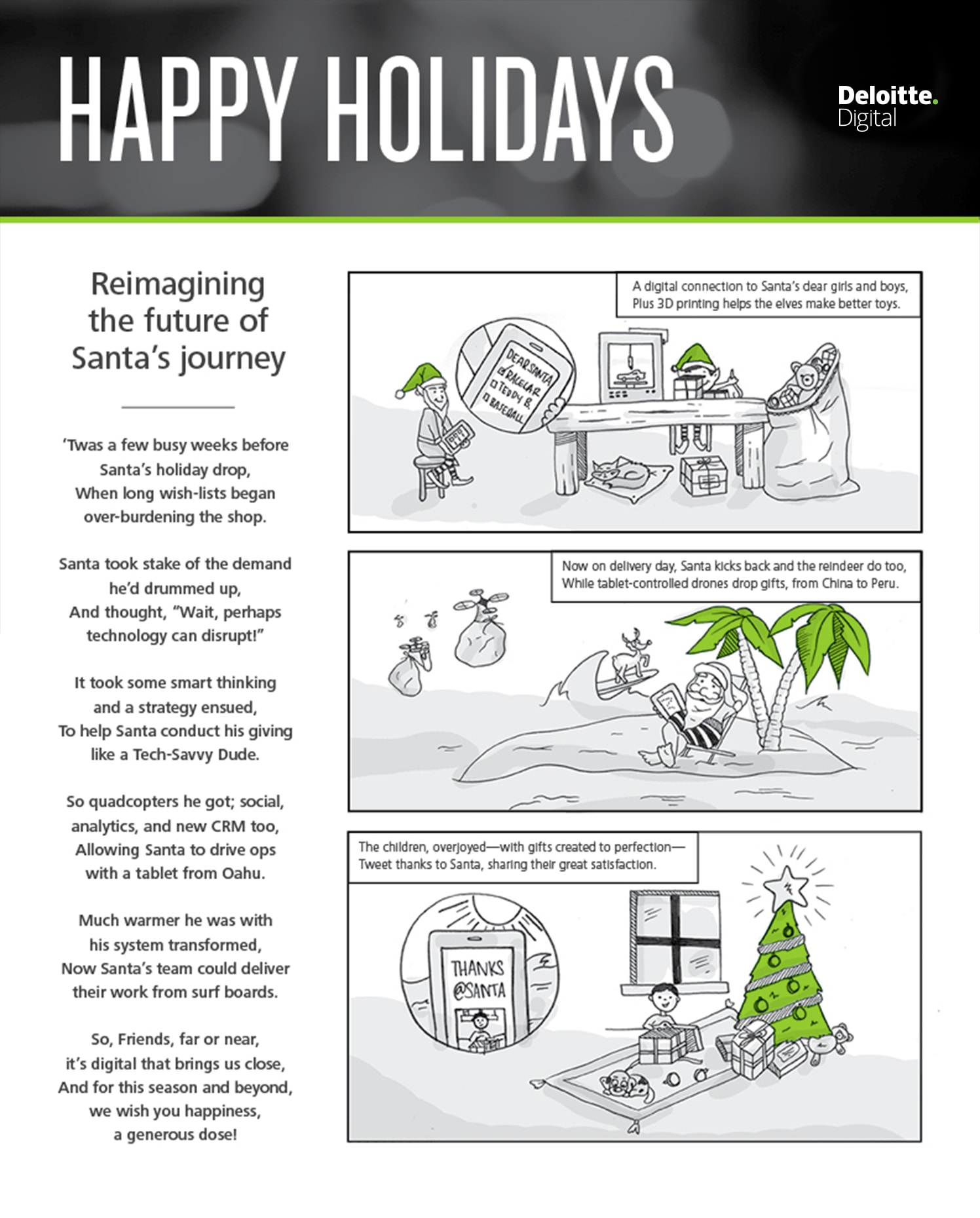 infographic with a poem and 3-frame comic describing Santa's reimagined workflow