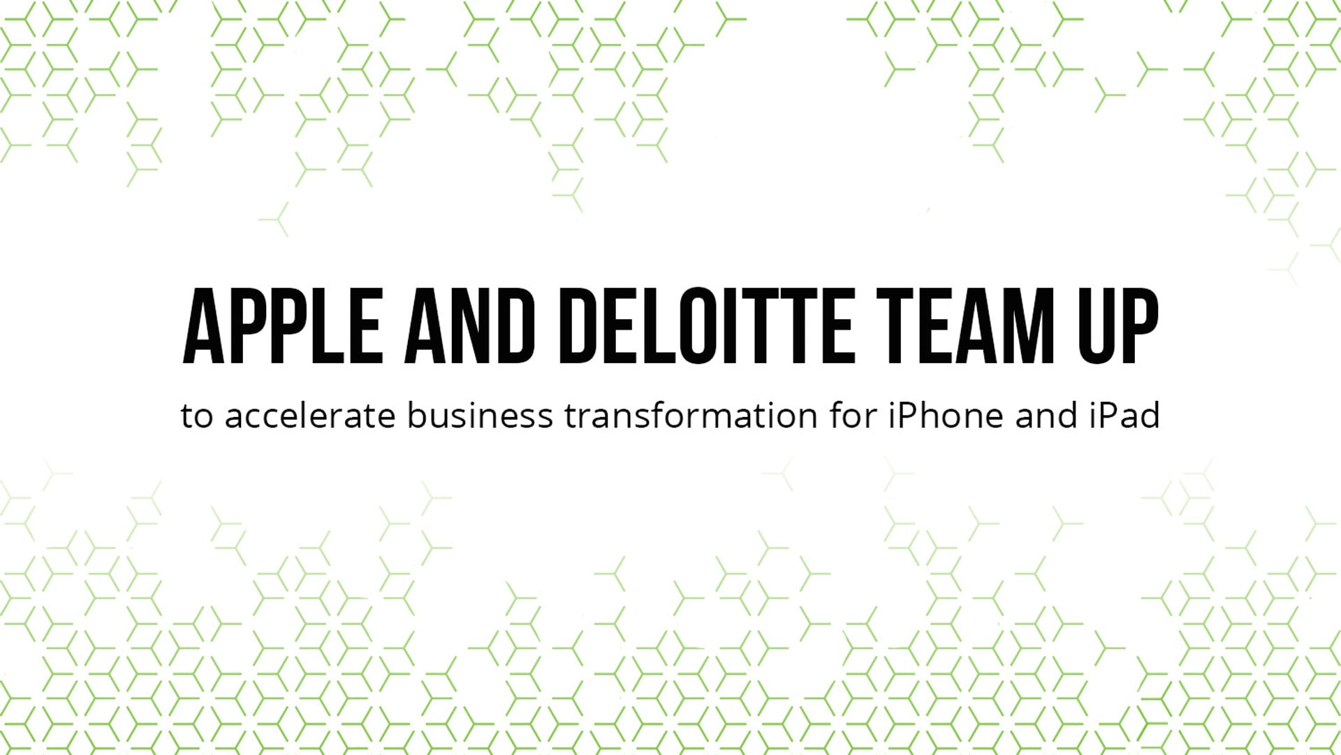 Apple and Deloitte team up text with pattern in the background