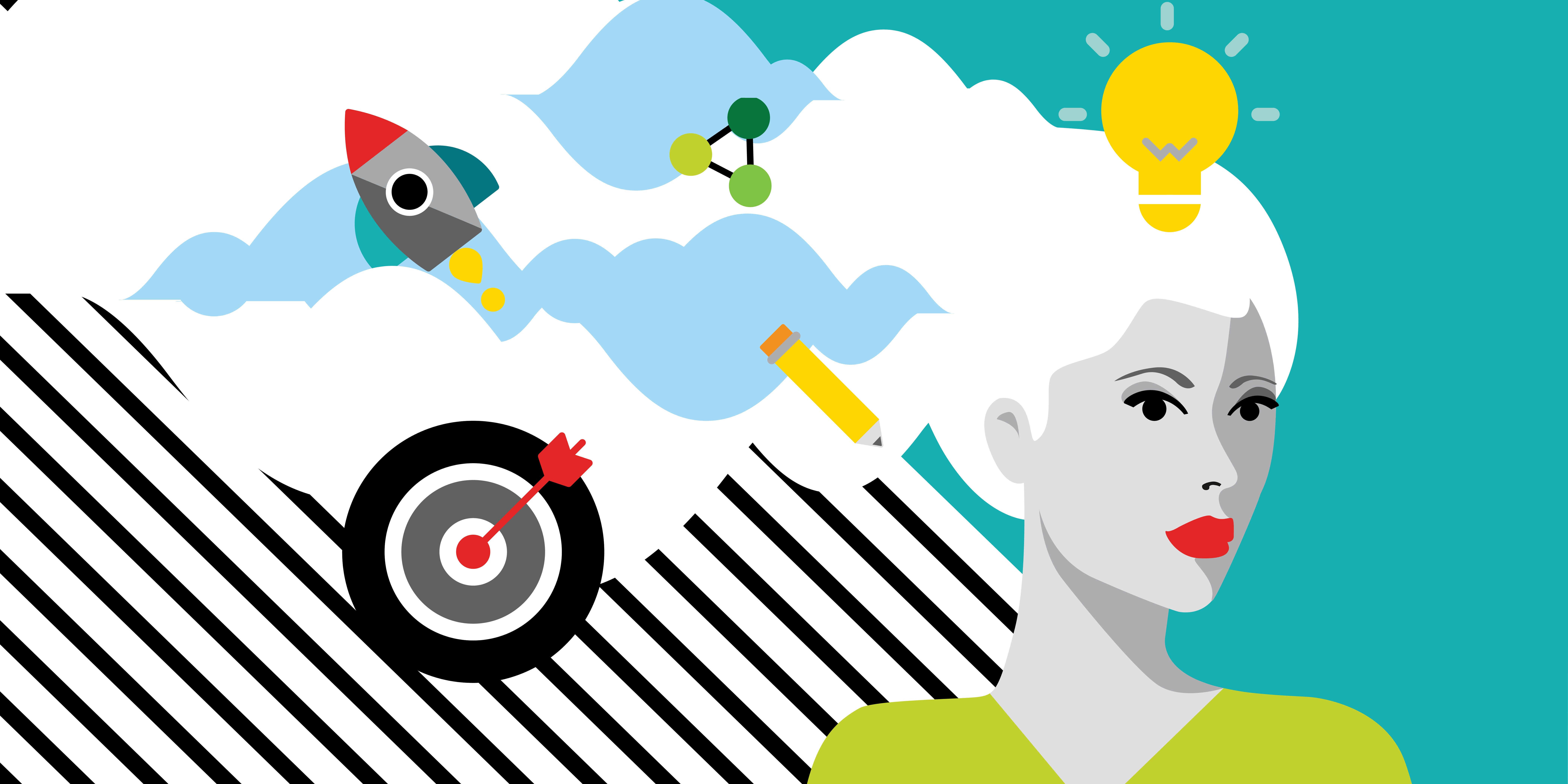 Illustration of woman, lightbulb, bullseye, rocket