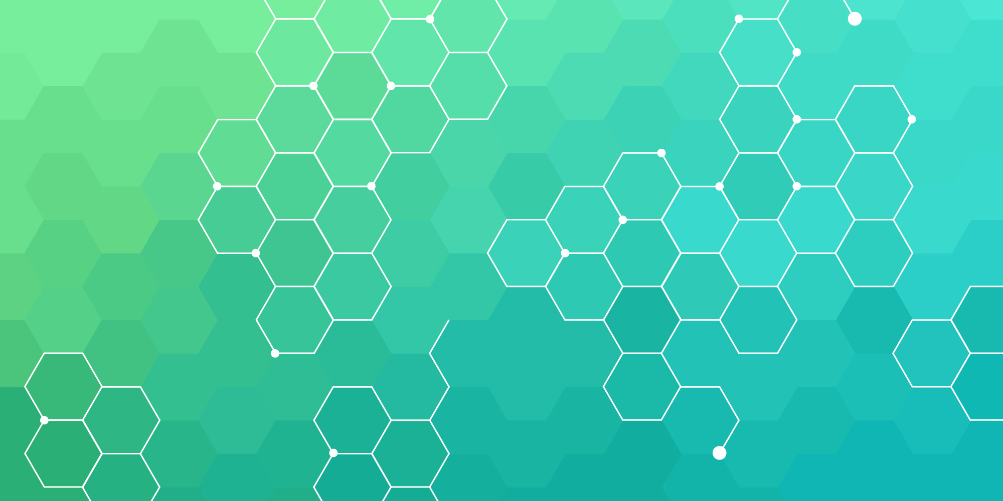 Blue green and teal hexagon pattern