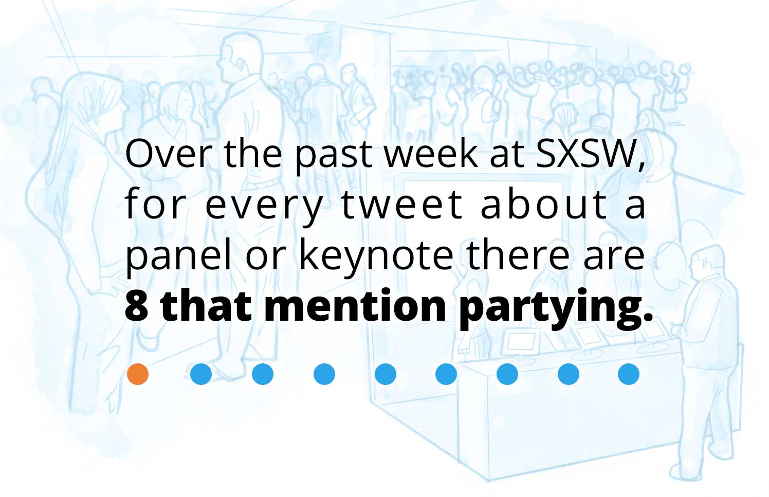 Graphic with text overlay: Over the past week at SXSW, for every tweet about a panel of keynote there are 8 that mention partying.
