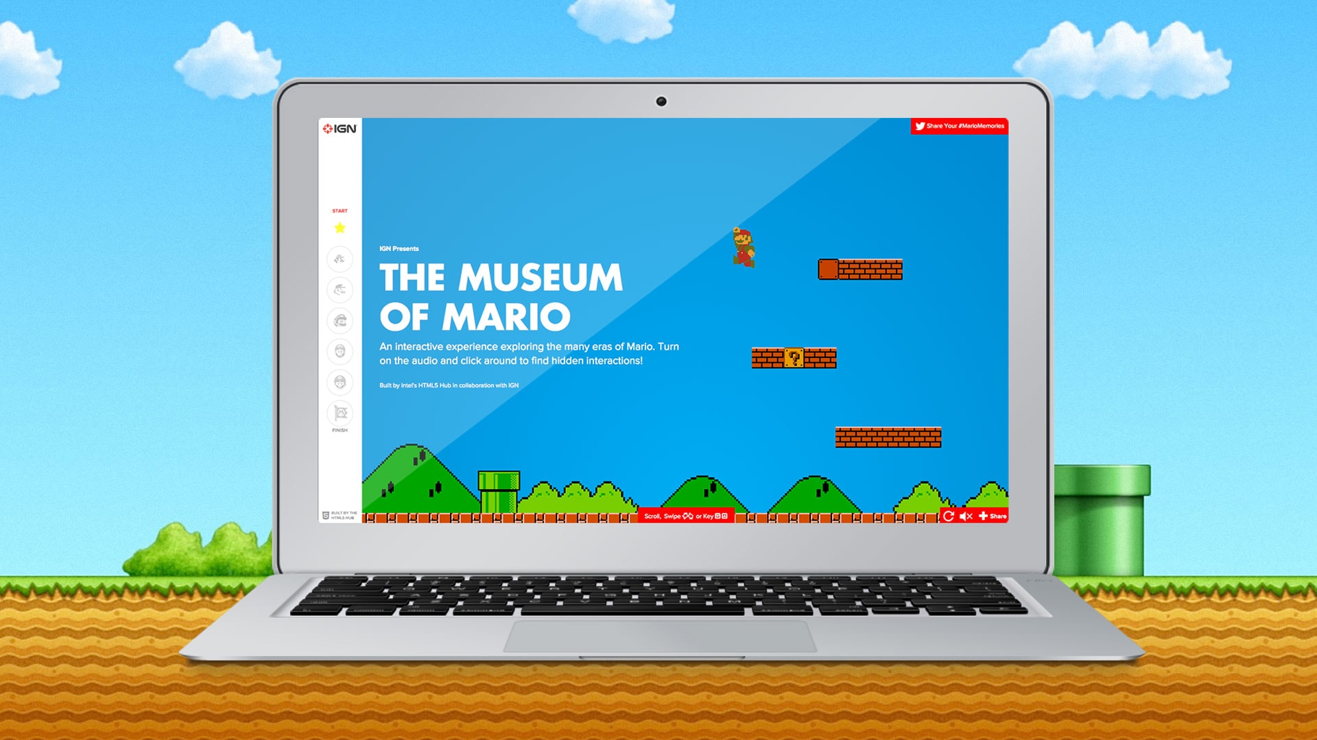 Graphic of a laptop showing the Museum of Mario home page