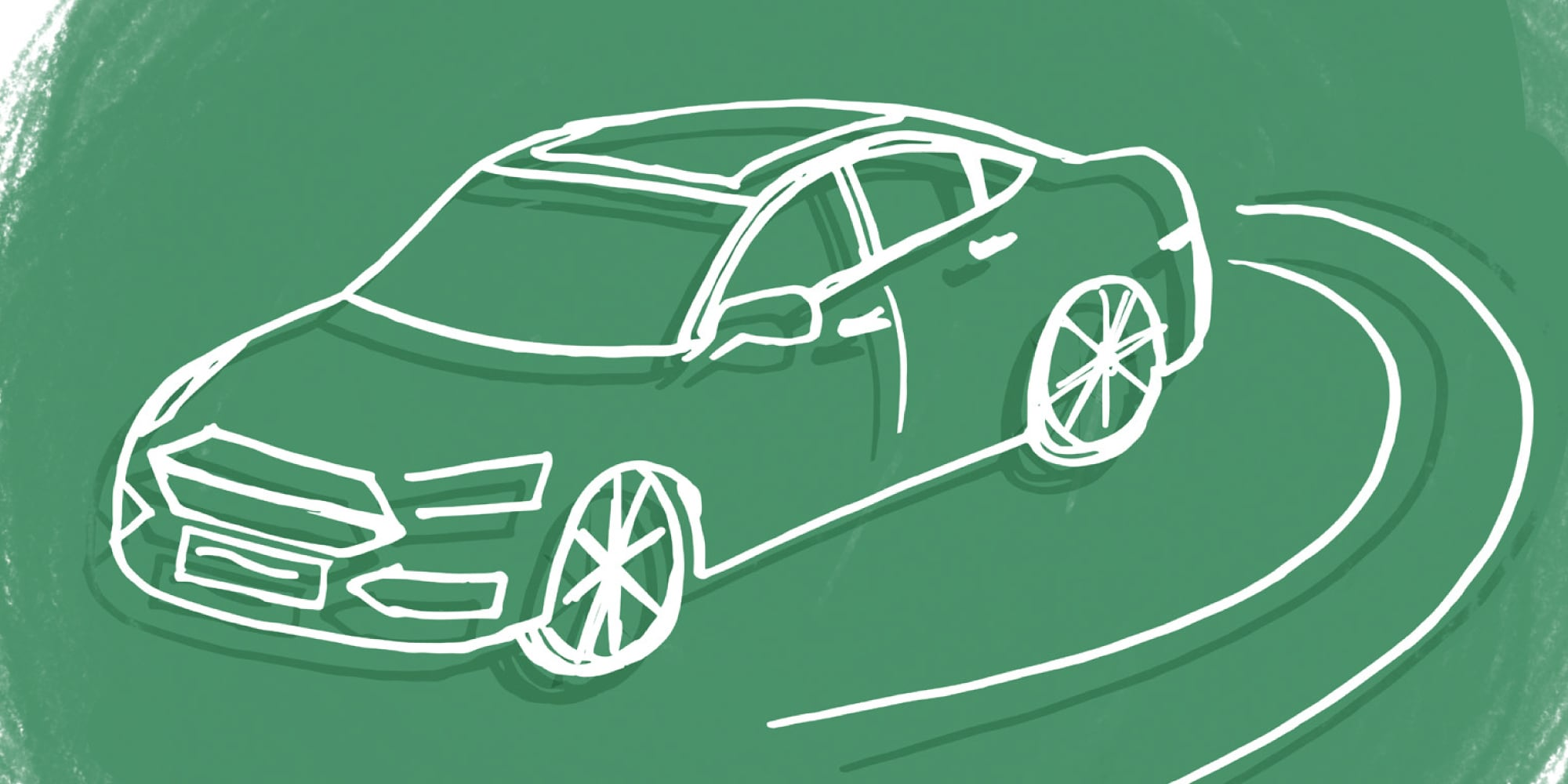 Line drawing of a car on green background