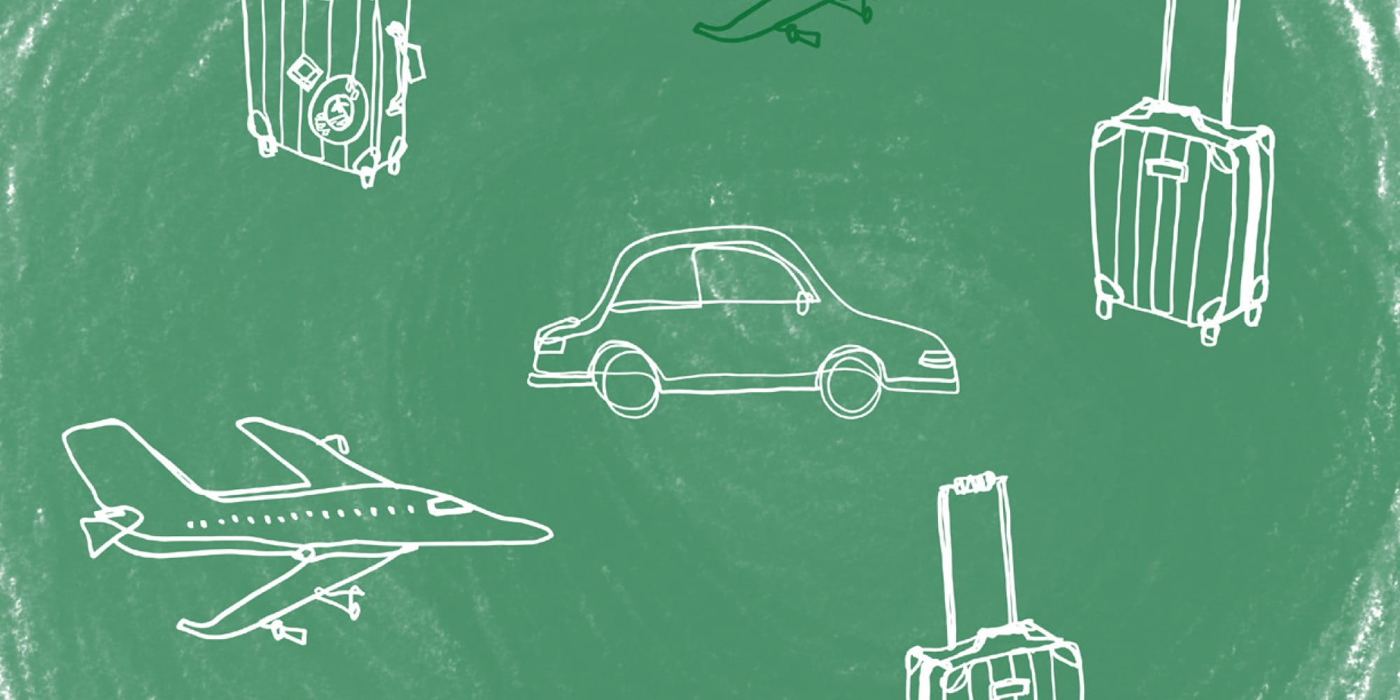 Line drawing modes of transportation on green background